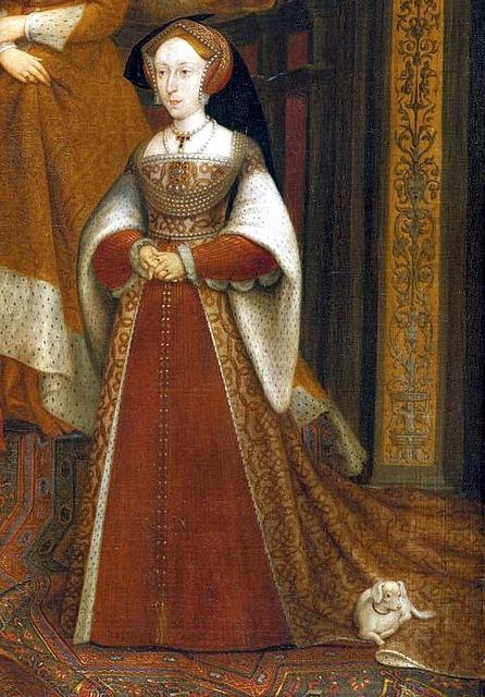 """Detalhe de Jane Seymour no ''The Dynasty Portrait"""" ou """"The Whitehall Mural"""". Cópia de Remigius van Leemput de um original feito por Hans Holbein. Datado do século XVII."""