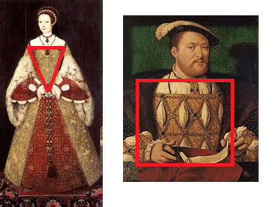 Silhueta femina e masculina no período Tudor.
