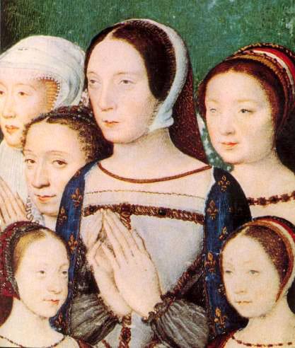 Rainha Claude da França em retrato com suas filhas.