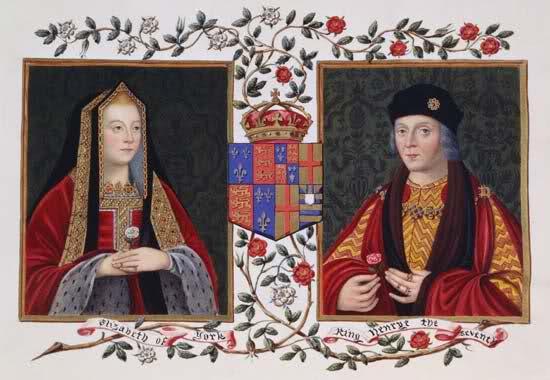 Elizabeth de York, Henrique VII e a junção das Rosas de York e Lancastre dando origem a famosa Rosa de Tudor.