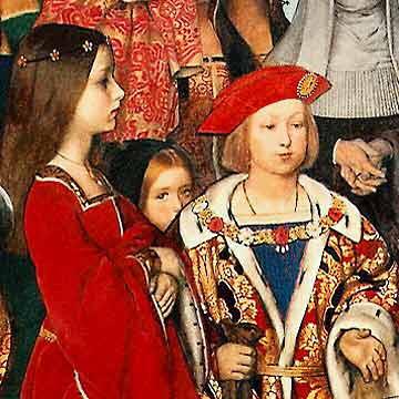 Detalhe dos jovens Margaret e Henrique VIII sendo visitados por Eramus, datado de 1910, por Frank Cadogan Cowper.
