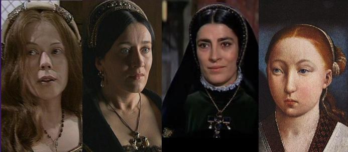 Catarina de Aragão interpretada por Annetie Crosbie, Maria Doyle Kennedy  e Irene Papas, que atuaram nos respectivos filmes: As seis esposas de Henrique VIII 1971, The Tudors (série) e Ana dos Mil Dias.