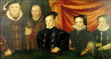 Retrato de Henrique VIII e seus três filhos: Eduardo, Maria e Elizabeth.