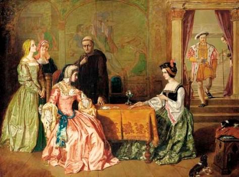 Catarina de Aragão e Ana Bolena, jogando cartas.
