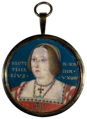Miniatura de Catarina de Aragão, atribuída a Lucas Horenbout.