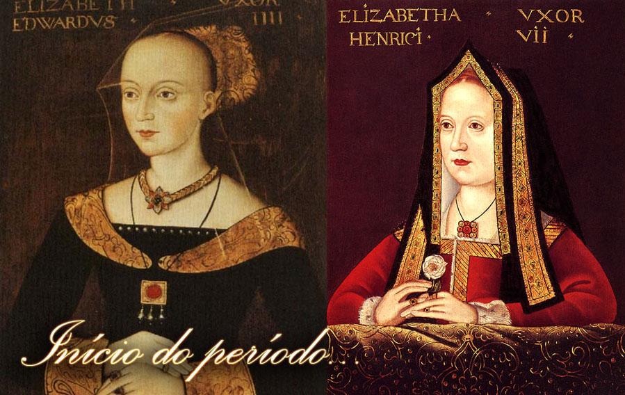 Exemplo da famosa testa alta em Elizabeth Woodville e o capelo do início do período em Elizabeth de York.