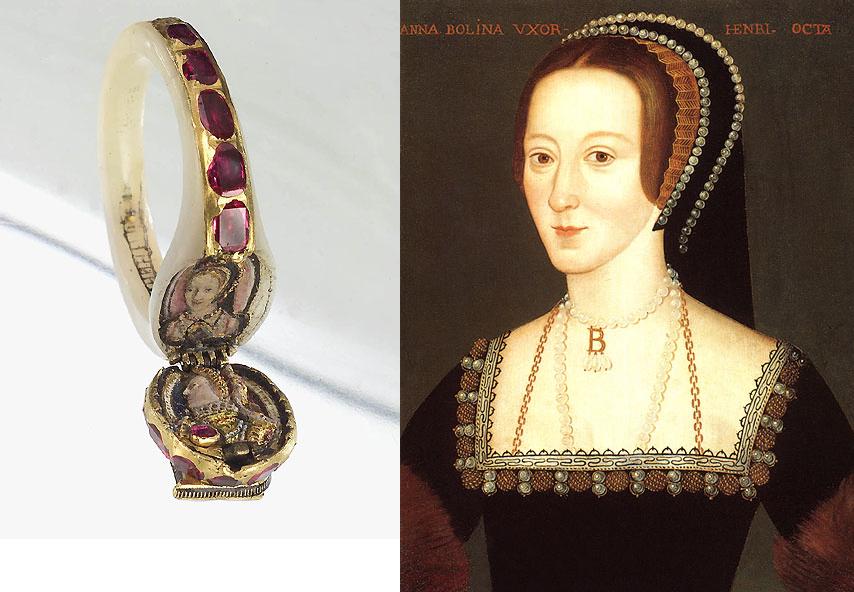 Detalhe da miniatura de Ana Bolena no anel e seu retrato exposto no National Portrait Gallery.
