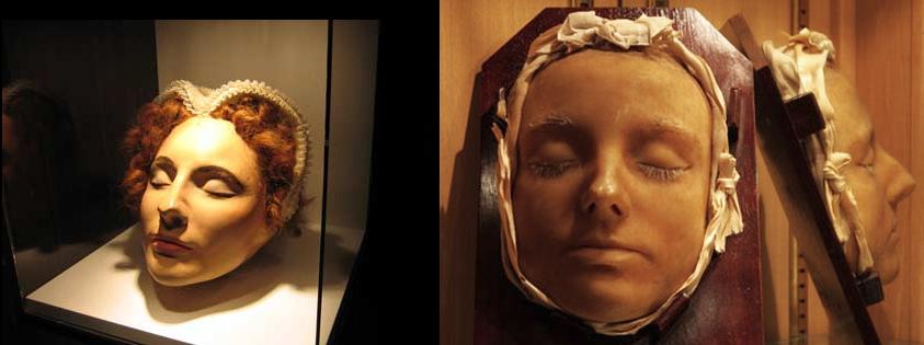 Máscaras mortuárias de Maria, a primeira é de Peterborough e a segunda de Lennoxlove.