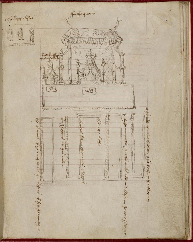 Plano de assentos para o banquete de coroação para Anne Boleyn em 1533.