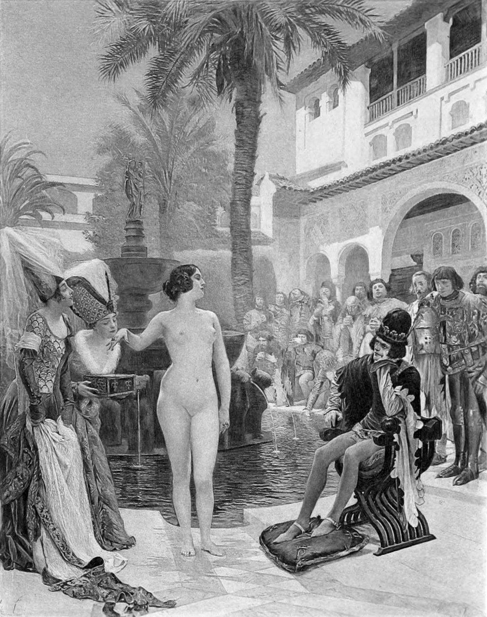 Maria de Padilha choca a corte hispanica. Pintura de Paul Gervais.