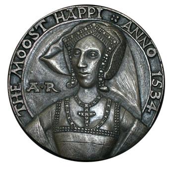 Reconstrução da artista Lucy Churchill de uma medalha de Ana. O único retrato contemporâneo de Ana Bolena, datado de 1534. Medalha de Ana Bolena, muitos dos requisitos do retrato, principalmente nariz, foram utilizados.