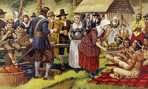 The First Thanksgiving in 1621, a year after the Pilgrim Fathers had left the Old World