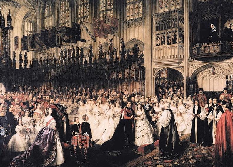 Rainha Victoria assiste ao casamento de seu filho Edward, do balcão de Catarina de Aragão.