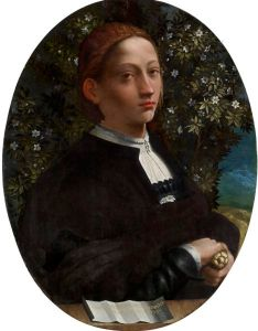 Handout picture of painting of Lucrezia Borgia by famed Renaissance artist Dosso Dossi
