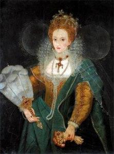 Rainha Elizabeth com um Leque, meados de 1590. Artista Desconhecido. Acervo Privado.