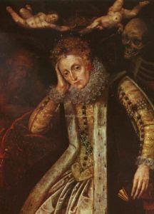 O Retrato Alegórico de Elizabeth I com o velho pai tempo a seu lado. A morte olha por seu ombro, enquanto querubins removem o peso de sua coroa. Ela novamente é princesa e não mais Rainha, c. 1610 - por volta. English School.