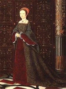 Princesa Elizabeth, detalhe do ''The Family of Henry VIII'', c. 1543-1547.  Anônimo, Palácio de Hampton Court. © The Royal Collection.