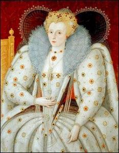Rainha Elizabeth, c.1592. Segundo Marcus Gheeraerts o Jovem. Government Art Collection, UK.