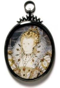 Rainha Elizabeth, c.1595-1600. Miniatura por Nicholas Hilliard. © Victoria & Albert Museum.