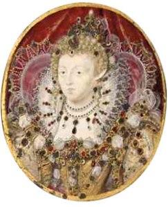 Rainha Elizabeth I c.1595-1600. Miniatura por Nicholas Hilliard. Acervo Pessoal.