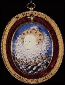 Rainha Elizabeth I, c.1590. Miniatura por Nicholas Hilliard. Beauchamp Collection.