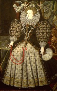 Rainha Elizabeth, c. 1590. Atribuído a Nicholas Hilliard. Jesus College, Oxford.