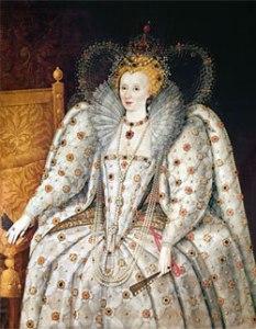Rainha Elizabeth, c.1592. Segundo Marcus Gheeraerts, o Jovem. Palazzo Pitti, Florença.