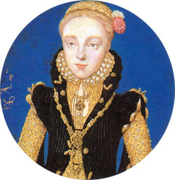 Miniatura de Elizabeth I, c. 1560-5. Atribuído a Levina Teerlinc. © The Royal Collection.