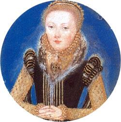 Miniatura de Elizabeth I, c. 1560-5. Atribuída a Levina Teerlinc. © The Royal Collection.