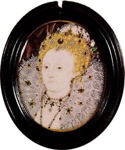 Rainha Elizabeth I c.1595-1600. Miniatura por Nicholas Hilliard. Acervo Privado.