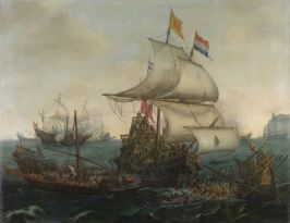 Vroom_Hendrick_Cornelisz_Dutch_Ships_Ramming_Spanish_Galleys_off_the_Flemish_Coast_in_October_1602