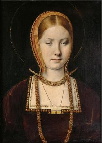 Retrato atribuído à Catarina de Aragão, por Michel Sittow, 1502 aprox.