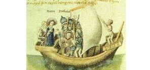 gravura medieval que representa a chegada de Scota