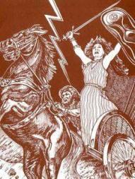 mulher celta no carro de guerra